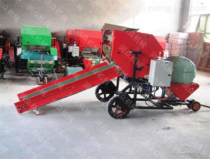 皇竹草青贮打捆包膜机 地里捡拾麦秆打捆机