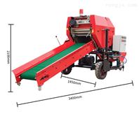 自动青储饲料打包机 玉米秆粉碎圆捆包膜机